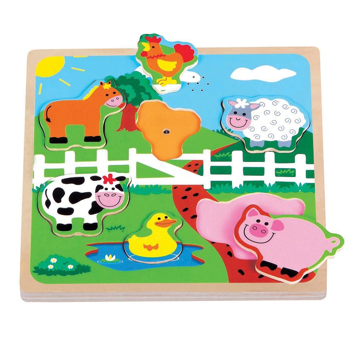 Lelin Toys - Puzzle Sonore - Ferme