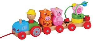 Lelin Toys - Train à tirer cubes ferme