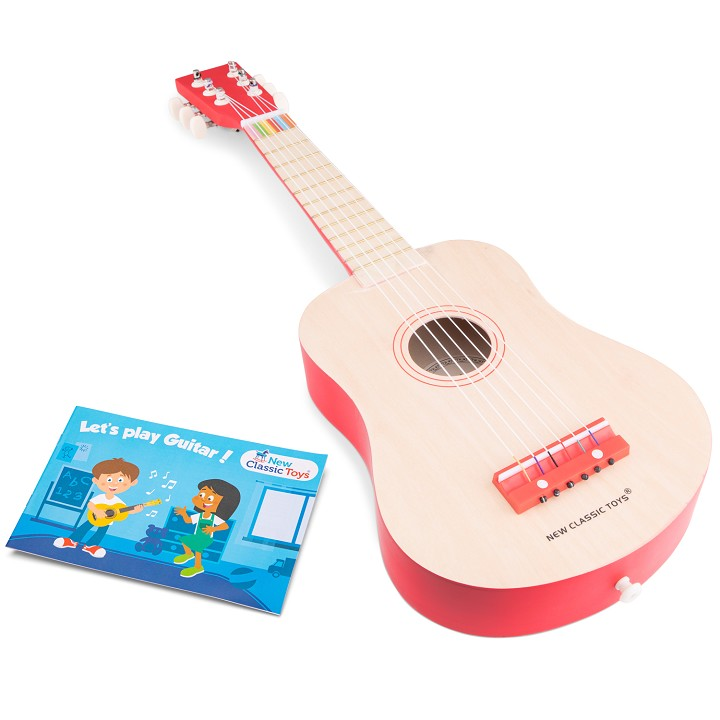 New Classic Toys - Guitare de Luxe - Naturelle/Rouge