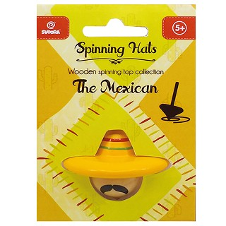 Svoora - Wooden Top 'Spinning Hats: the Mexican' (free display with 36pcs - 6  spinning hats designs)