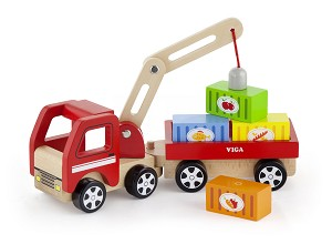 Viga Toys - Camion grue avec containers