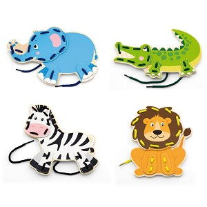 Viga Toys - Lacets animaux sauvages