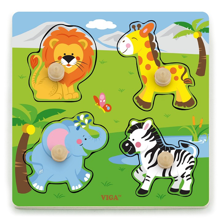 Viga Toys - Puzzle à gros boutons - animaux sauvages