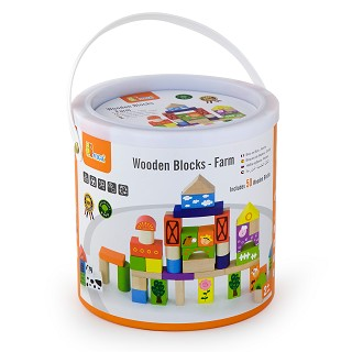 Viga Toys - Baril de Cubes - Ferme - 50 pieces