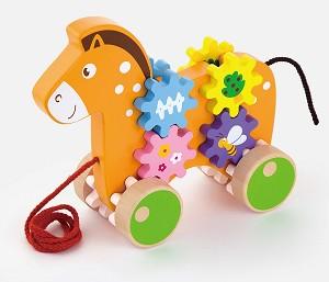 Viga Toys - Cheval avec engrenages à tirer
