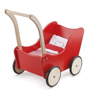 New Classic Toys - Landau de Poupée avec Literie - Rouge