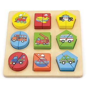 Viga Toys - Puzzle - formes géométriques - véhicules